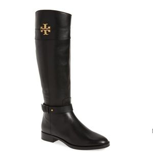 Tory Burch Everly Riding Calf Leather Boots Black